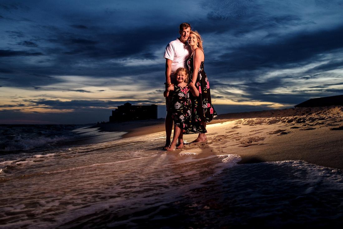 Dusk Family Beach Portrait in Perdido Key Florida