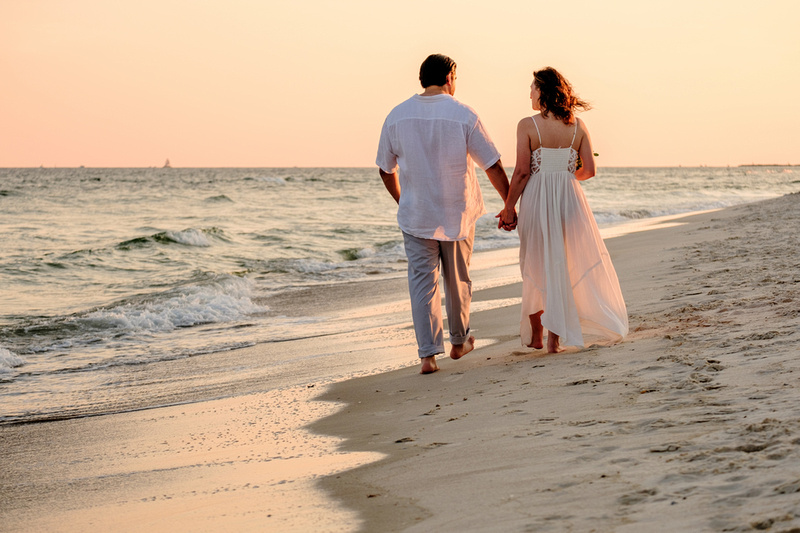 Sunset Beach Wedding Portrait