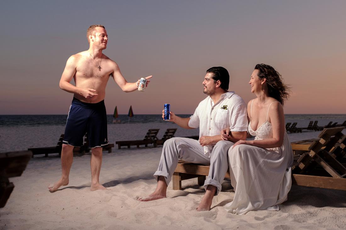 Beach Wedding Photobomb